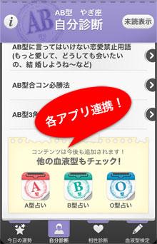 A型、B型、O型、AB型の各アプリは連携します