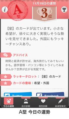 A型アプリの今日の運勢画面