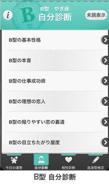 B型アプリの自分診断画面