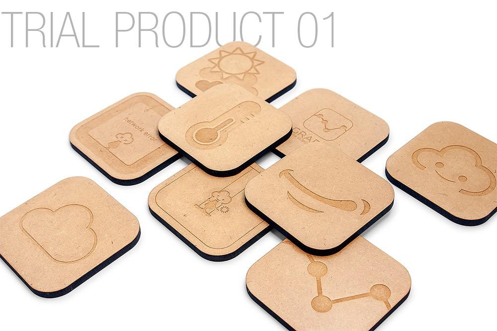 MDF板をレーザー彫刻して制作したコースター