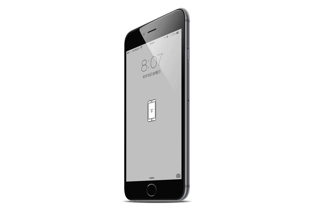 iPhone 6のロックスクリーンに壁紙を設定した状態