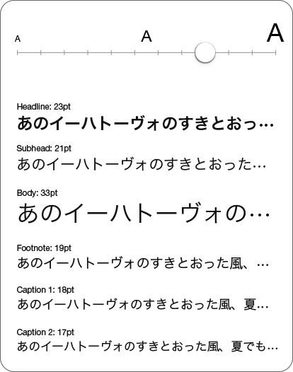 Dynamic Type 画面表示例(++2)