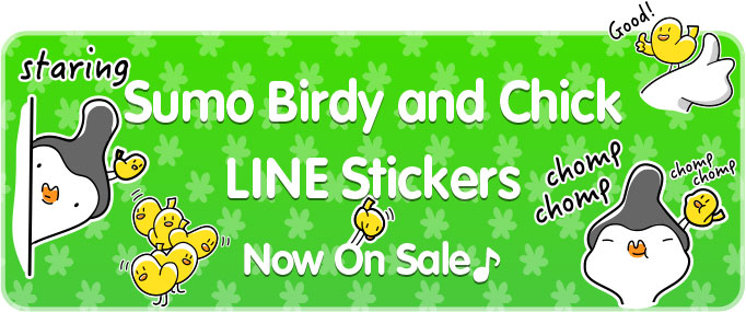 "LINE Stickers ""Sumo Birdy and Chick"" english version banner"