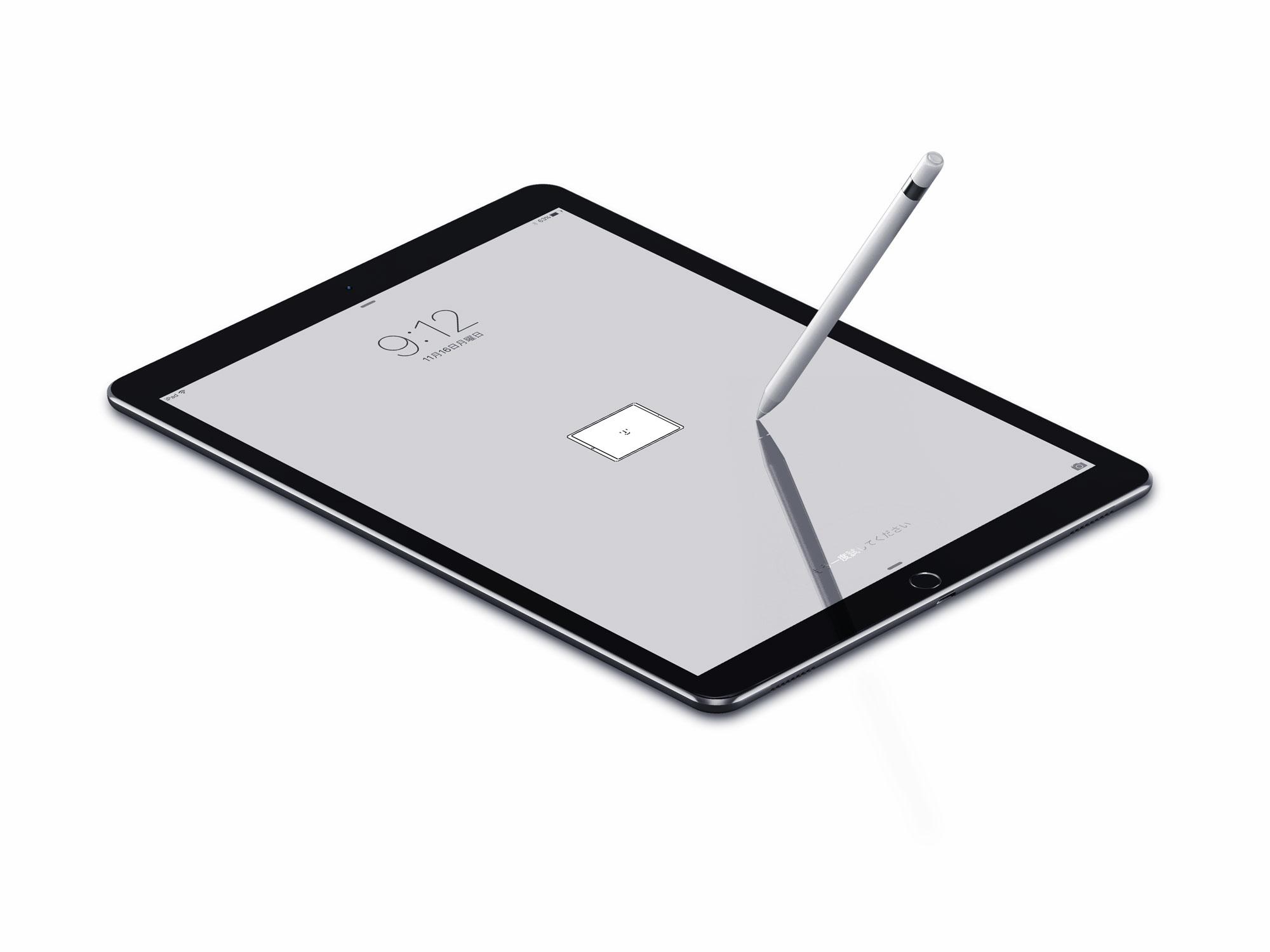 iPad ProのロックスクリーンにHappyな壁紙を設定した状態