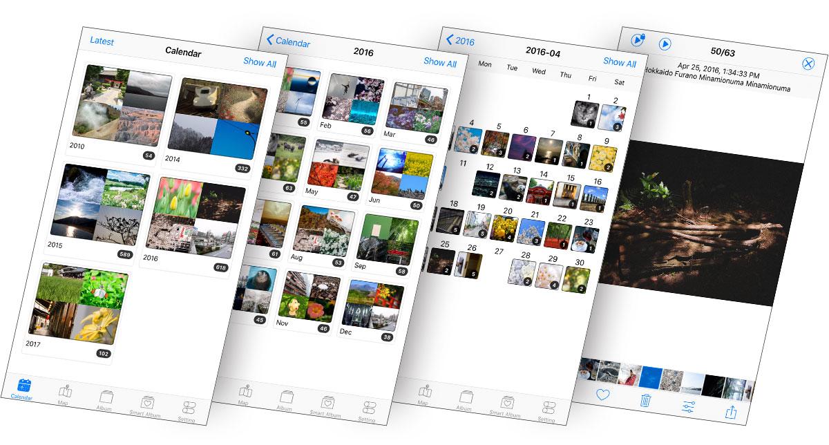 Pictreamアプリのカレンダー表示