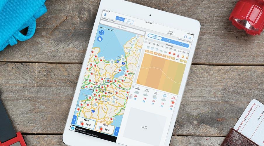 WeatherJapanのタブレット版表示イメージ